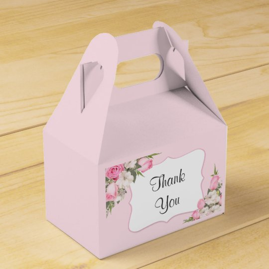Floral Favour Box Personalised with Pink Roses
