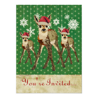 """Floral Fawn Green Starry Holiday Invitation 6.5"""" X 8.75"""" Invitation Card"""
