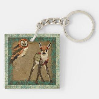 Floral Fawn & Gypsy Owl Keychain