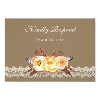 Floral Feather Lace Wedding RSVP Card
