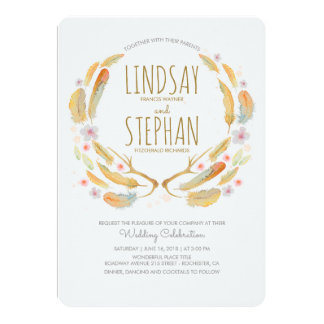 Floral Feathers Antlers Summer Woodland Wedding Card