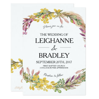 floral feathers wedding invitation
