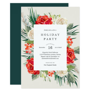 Floral Festivities Holiday Party Invitation