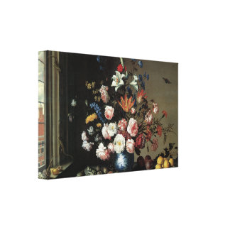 Floral Fine Art with Roses Lilies Canvas Wrap Stretched Canvas Print