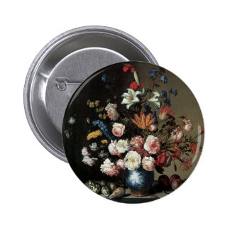 Floral Fine Art with Roses Lillies 6 Cm Round Badge
