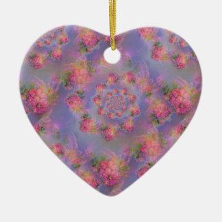 Floral Fireworks Damask Ceramic Heart Decoration
