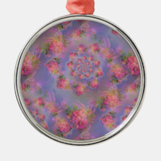 Floral Fireworks Damask Silver-Colored Round Decoration