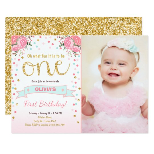 Floral first birthday invite girl pink gold roses zazzle floral first birthday invite girl pink gold roses stopboris Gallery