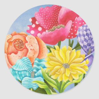 Floral Five Classic Round Sticker