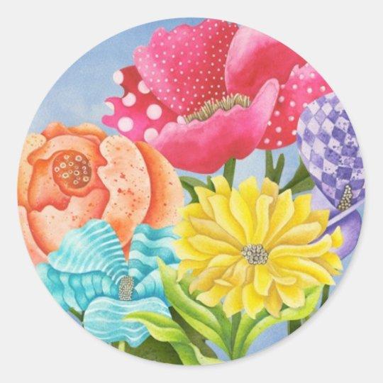 Floral Five Classic Round Sticker
