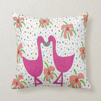 Floral Flamingo Fiesta Throw Pillow