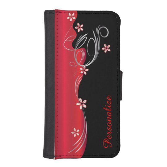 Floral Florid Deep Red Design iPhone SE/5/5s Wallet