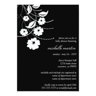 Floral Flourish Baby Shower (Black / White) Invites