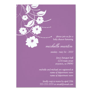 Floral Flourish Baby Shower (Eggplant / White) Personalized Invitation