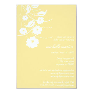 Floral Flourish Baby Shower (Gold / White) Custom Invitations