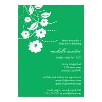 Floral Flourish Baby Shower (Green / White) Custom Invitation