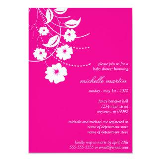 Floral Flourish Baby Shower (Magenta Pink / White) 13 Cm X 18 Cm Invitation Card