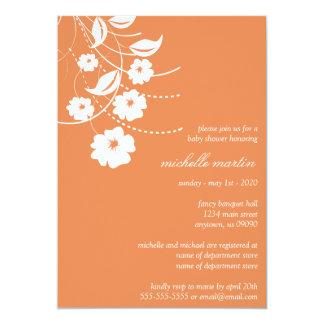 Floral Flourish Baby Shower (Orange / White) Custom Invitations