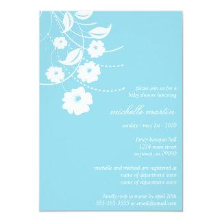 Floral Flourish Baby Shower (Pale Blue / White) Invitation