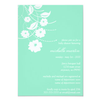 "Floral Flourish Baby Shower (Pale Green / White) 5"" X 7"" Invitation Card"