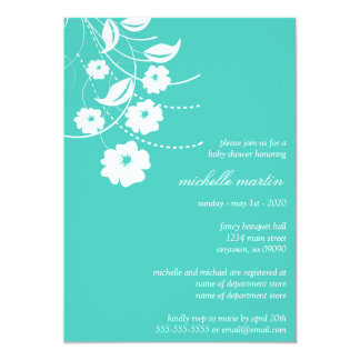 Floral Flourish Baby Shower (Teal / White) Announcements