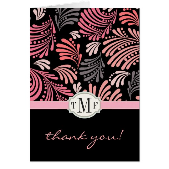 Floral Flourish Monogram Thank You Card
