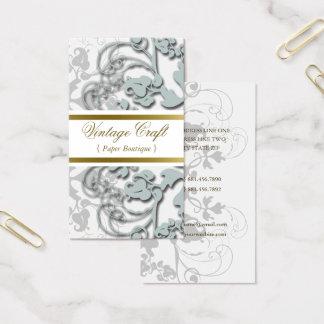 Floral Flourish Secret Blue Custom Profile Card