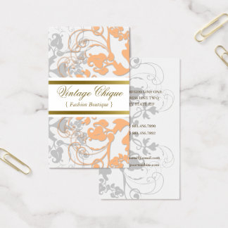 Floral Flourish Sweet Peach Custom Profile Card