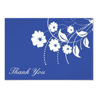 Floral Flourish Thank You Note (Navy Blue / White) Invitation