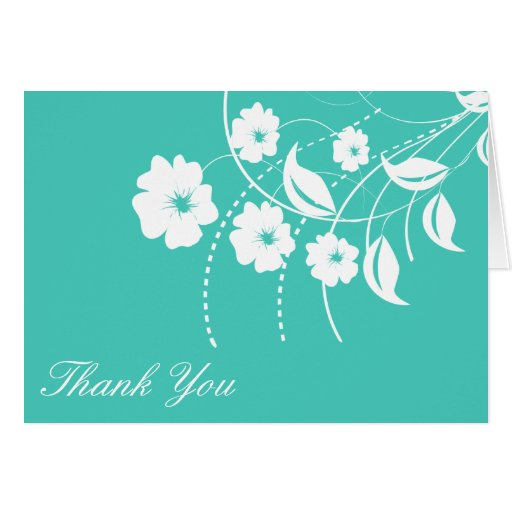 Floral Flourish Thank You Notecard (Teal / White) Greeting Card
