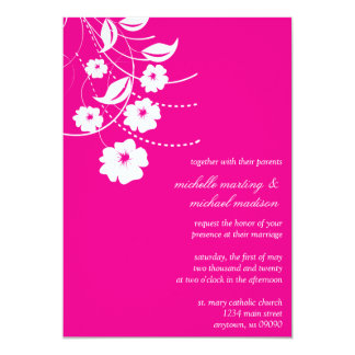 Floral Flourish Wedding Invitation (Magenta/White)