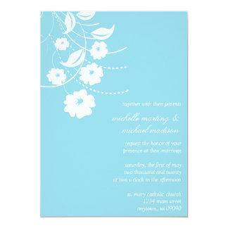 Floral Flourish Wedding Invitation (Pale Sky Blue)