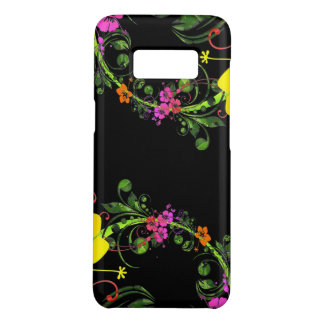 Floral Flower Black Phone - Tough Phone Case