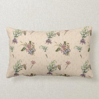 Floral Flower Bows Blue Purple Tan Lumbar Cushion