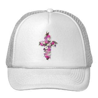 Floral/Flower Cross Trucker Hats