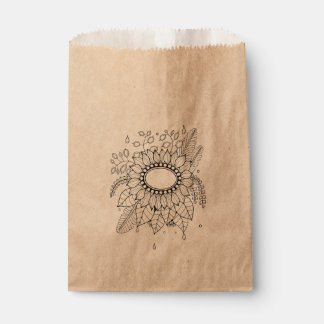 Floral Flower Spray Line Art Design Favour Bags