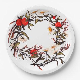 Floral Flower Wreath Plants Botanical Horticulture Paper Plate