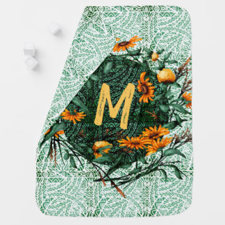 Floral Flower Wreath Plants Botanical Monogram Baby Blanket