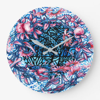 Floral Flower Wreath Plants Botanical Stained Large Clock