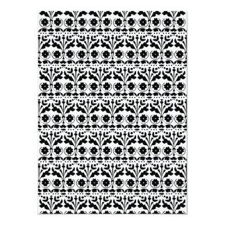 Floral Folk Art Papercut Style Pattern 14 Cm X 19 Cm Invitation Card
