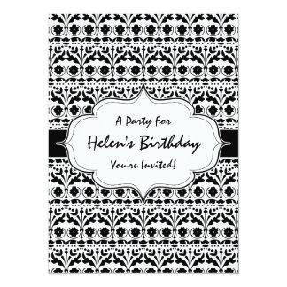Floral Folk Art Papercut Style Pattern Custom Invitations