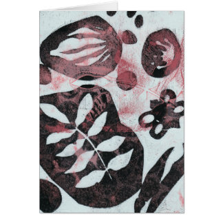 Floral Fossils Abstract Monoprint Card