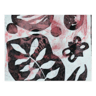 Floral Fossils Abstract Monoprint Postcard
