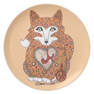 Floral Fox Cub Plate