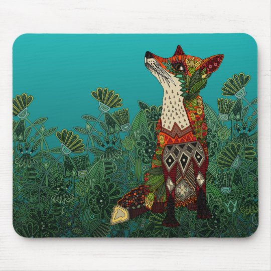 floral fox mouse mat