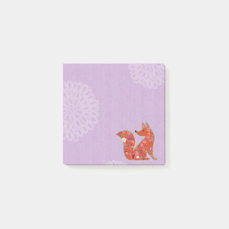 Floral Fox Post-It Notes