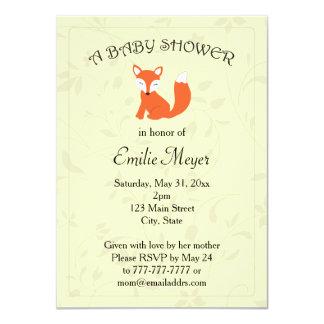 "Floral Fox Woodland Baby Shower 4.5"" X 6.25"" Invitation Card"