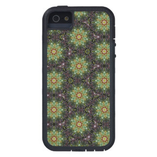 Floral Fractal Abstract Pattern in Black and Green Case For The iPhone 5