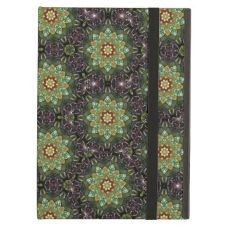 Floral Fractal Abstract Pattern in Black and Green iPad Air Cases