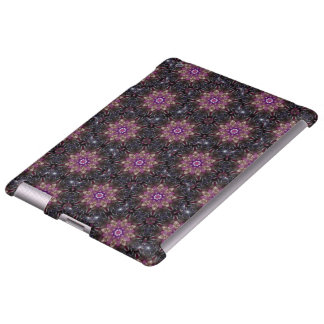 Floral Fractal Abstract Pattern in Black & Purple iPad Case